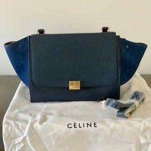 Celine Trapeze Handbag - Navy
